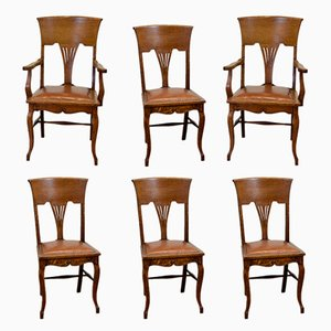 Antique Art Nouveau Leather and Oak Dining Chairs, Set of 6