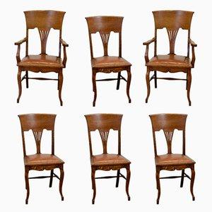 Sedie da pranzo antiche Art Nouveau in pelle e quercia, set di 6