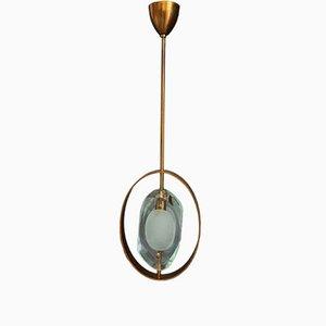 Italienische Deckenlampe aus Messing & geschliffenem Glas von Max Ingrand für Fontana Arte, 1960er