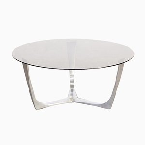 Table Basse Vintage en Aluminium et Verre, 1980s