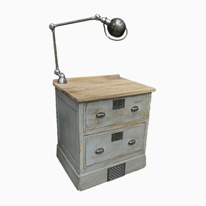Mid-Century Industrial French Iron and Metal Dresser & Jieldé Lamp, 1950s
