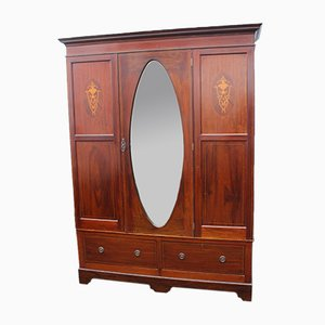 Large Mahogany Wardrobe with Mirror, 1940s