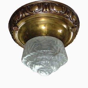 Antike deutsche Deckenlampe aus Glas & Messing