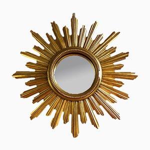 Espejo belga Mid-Century en forma de sol dorado, años 50