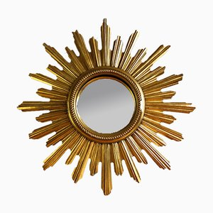 Goldener belgischer Mid-Century Spiegel in Sonnen-Optik, 1950er
