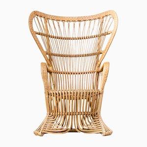 Mid-Century Peacock Chair aus Rattan von Rohé Noordwolde, 1970er
