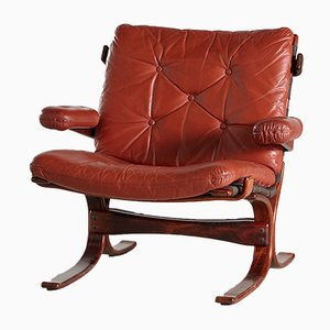 Danish Leather Lounge Chair by Ingmar Relling for Westnofa, 1960s