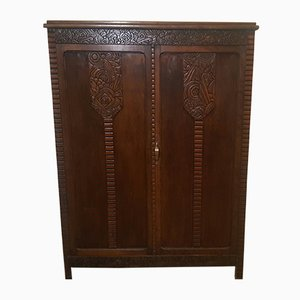 Art Deco French Beech Veneer Wardrobe, 1920s