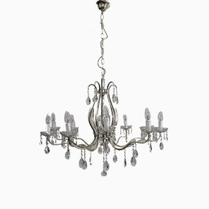 Empire Style Italian Silver-Plated Chandelier, 1950s