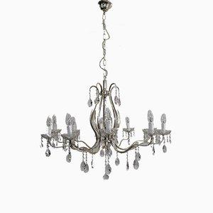 Lámpara de araña italiana estilo Imperio de latón, hierro fundido y plata, años 50