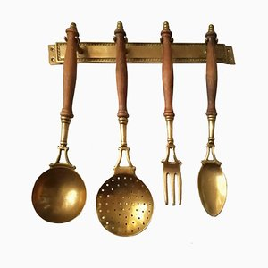 Antique Brass Kitchen Utensils with Hanging Bar Set, 1909