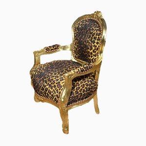 Vintage French Leopard Print Children's Chair, 1930s