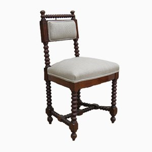 Antique French Mahogany and Linen Side Chair