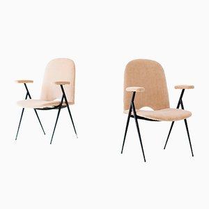 Italienische Mid-Century Sessel aus Eisen & Samt, 1950er, 2er Set
