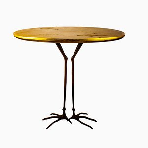 Minimalist Italian Bronze and Gold Leaf Side Table by Meret Oppenheim for Cassina, 1972