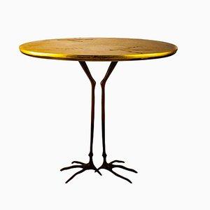 Tavolino minimalista in bronzo e foglia d'oro di Meret Oppenheim per Cassina, 1972