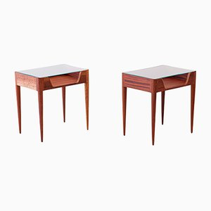 Mid-Century Italian Glass and Wood Nightstands from Fratelli Strada, 1950s, Set of 2