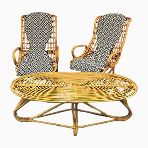 Italian Rattan and Bamboo Chaise Lounges, 1960s, Set of 2