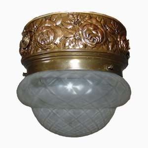 Antique German Antiqued Glass and Brass Ceiling Lamp