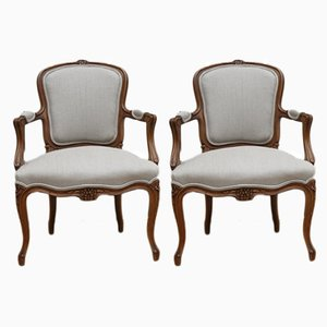 Antique French Oak Armchairs, Set of 2