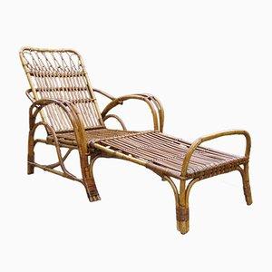 Chaise & Tabouret de Jardin Vintage en Canne & Rotin, 1920s