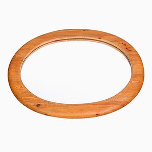 Large Oval Solid Pine Mirror Swedish Mirror, 1960s