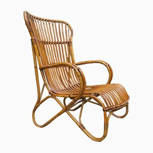Large Vintage Cane & Rattan Garden Lounge Chair, 1920s