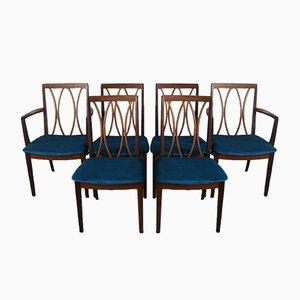 Chaises de Salle à Manger en Tissu et Teck de G-Plan, 1970s, Set de 6