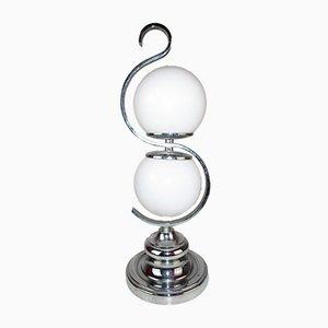Moderne italienische Tischlampe aus Chrom & Opalglas, 1960er