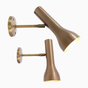 Apliques minimalistas de latón de Lad Team para Swiss Lamps International, años 60. Juego de 2
