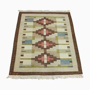 Schwedischer Mid-Century Teppich aus Flachgewebe mit geometrischen Mustern, 1950er