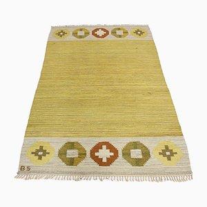 Flachgewebter Mid-Century Teppich von Birgitta Södergren, 1950er