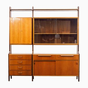 Mid-Century German Walnut Veneer Model 1280 Shelf from Behr, 1950s