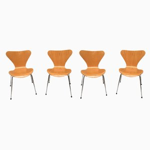 Danish Beech 3107 Butterfly Chairs by Arne Jacobsen for Fritz Hansen, 1990s, Set of 4