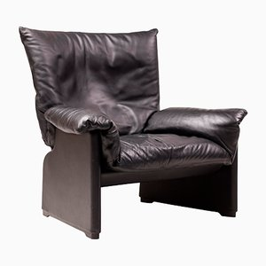 Italian Leather Lounge Chair by Vico Magistretti for Cassina, 1980s
