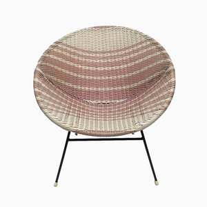 Pink & White Woven Wicker Lounge Chair, 1950s