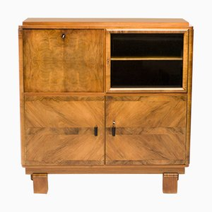 Art Deco Burl and Cut Glass Secretaire, 1920s