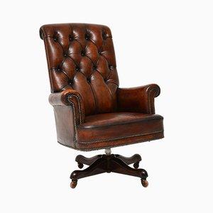 Antiker Armlehnstuhl aus Leder & Mahagoni