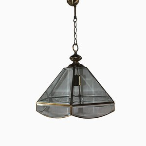 Vintage French Brass and Cut Glass Ceiling Lamp from Ideal Lux, 1980s