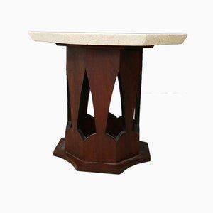 Tavolino da caffè in legno e travertino di Harvey Probber, anni '50