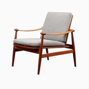 Danish Fabric and Teak Armchair by Finn Juhl for France & Søn, 1950s