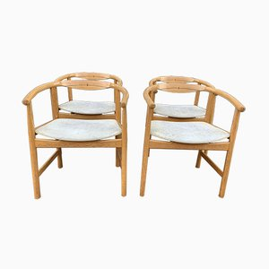 Danish Oak and Wenge Armchairs by Hans J. Wegner for Johannes Hansen, 1960s, Set of 4