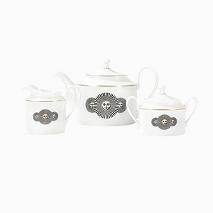 Italian Modern Model Heliada Porcelain Tea Set by Atelier Fornasetti for Rosenthal, 1990s