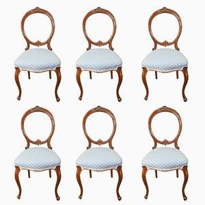 Chaises de Salle à Manger Antiques en Noyer, Set de 6