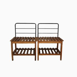 Mid-Century Italian Iron and Wood Benches, 1950s, Set of 4