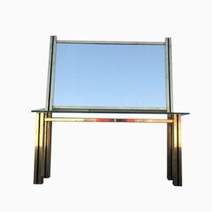 Consolle in ottone con specchio, anni '70