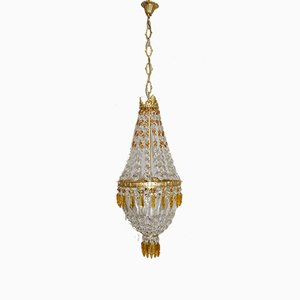 Empire Style Italian Brass and Crystal Chandelier, 1960s