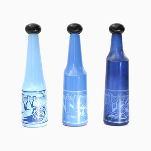 Botellas de vidrio azul de Salvador Dali para Rosso Antico, años 70. Juego de 3