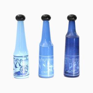 Bouteilles en Verre Bleu par Salvador Dali pour Rosso Antico, 1970s, Set de 3