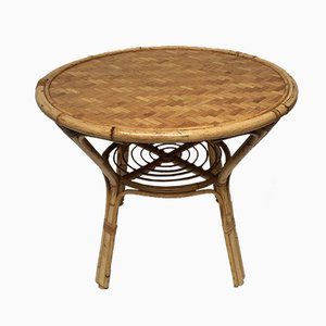 Vintage Rattan Dining Table, 1970s